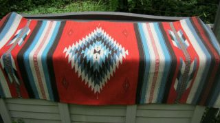 """Authentic Vintage Mexican Throw/rug 59 """" X 30 """" Handwoven Wool"""
