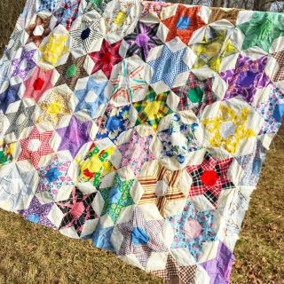 "Vintage Handmade Hand Pieced Unfinished Quilt Top Stars Novelty 58 "" X 80 """