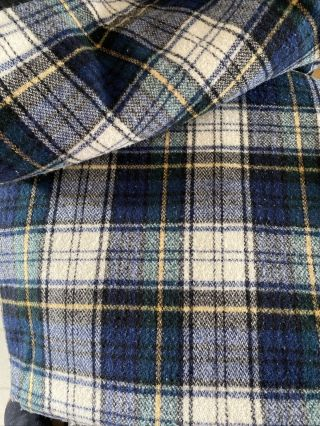 Pendleton 100 Pure Virgin Wool Blue Plaid Blanket Vintage Usa 82 X84 Large