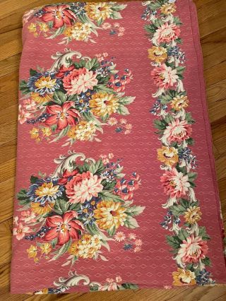 Vintage Pink Floral Bark Cloth Bedspread Or Tablecloth 100in.  By 76in 3 Panels