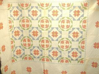 Q 13 Vintage Quilt,  Hand Quilted,  Cross Stitched Flowers,  79 X 84 Inches,  1980