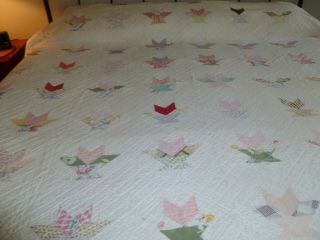 Vintage Basket Pattern? Quilt 78x84 Solid White Back Needs Some Repairs