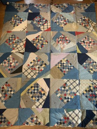 "Vintage Hand Pieced Quilt Top Early Fabrics 66 "" X 80 "" Square Patchwork"