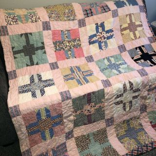 Vintage Mid Century Patchwork Quilt Twin Sz Pink Hand Stitched Cutter Repair Use