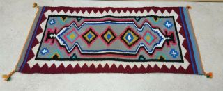 """17 """" By 34 """" Hand Woven Wool Native American Navajo Indian Rug"""
