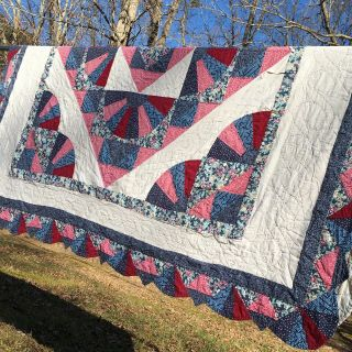 """Vintage Hand Quilted Patchwork Fan Variation Scalloped Edge 82"""" X 91"""""""