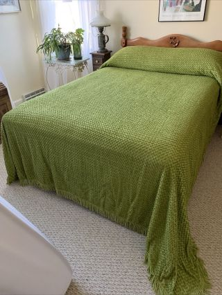 Vintage Chenille Pea Green Big Pops Bedspread Or Craft Fabric Full Double Size