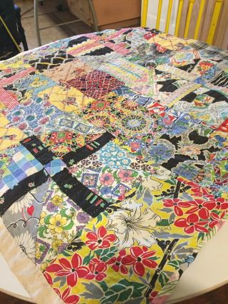 Vintage Hand Stitched Bright & Colorful Quilt Full Size Great