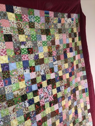 Vintage Handmade Lancaster County Pa Dutch Hand Stitched Quilt 84 X 96