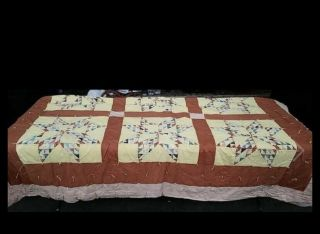 """Vintage Hand Stitched Cotton Quilt Hand Stitched 80"""" X 84""""colorful Lone Star Vtg"""