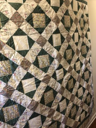 Vintage Handmade Green And White Floral Squares Quilt 84x84