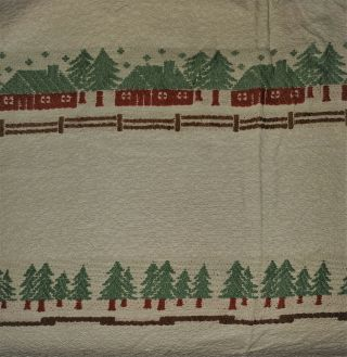 Vtg Bates Bedspread Twin/full Woven Cotton Embroidery Green Trees Red House Mcm