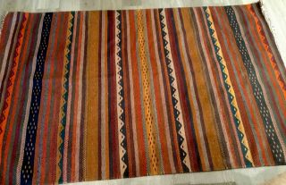 Woven Zapotec Rug,  Mexico,  Wool,  Stripes,  Zig Zags,  Red,  Green,  Mustard,  4 By 6