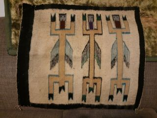 Yei Navajo Native Rug Textile With 3 Colorful Figures Black Border