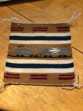 "Miniature Rug 4.  5 "" X 5 "" Navajo Pictorial (trains)"