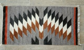"Southwest Handmade Wool Rug 18 "" Wide X 34 "" Long Gray,  Black,  Brown,  White,  Rust"