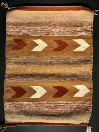 "Pristine Navajo Chinle Area Banded Rug,  Arrow Designs,  Remnant ""genuine"" Tag,  Nr"