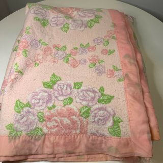 Vintage Thermal Acrylic Nylon Satin Trim Color Pink Rose Purple Queen