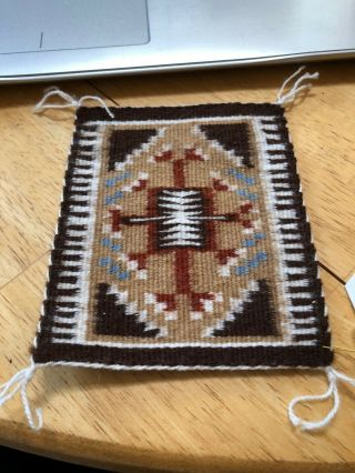 "Louise Bia Mini Rug (4.  75 "" X 4 "") - Shiprock Trading Post Tag"