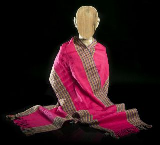 Mexican Shawl / Runner Striped Fucsia Indigenous Textile 100 Cotton