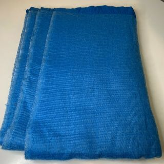 Vintage Thermal Acrylic Waffle Weave Blanket Solid Blue Color Nylon Satin Trim
