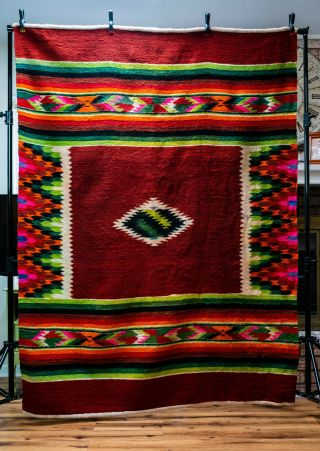 "Vintage Native American Mexican Wool Woven Rug 85 "" X 62 """