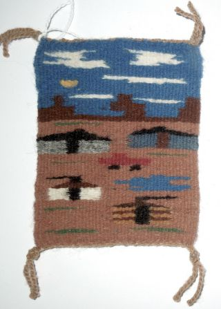 Linda Begay Navajo Miniature Pictorial Rug Weaving 4.  5 X 3.  5