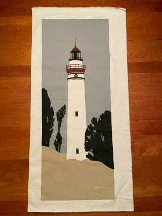 Vintage Marushka Screen Print Canvas Lighthouse Landscape Unframed Medium 37x14