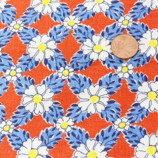 Partial Vintage Feedsack Lovely Packed Daisies On Red 18x30