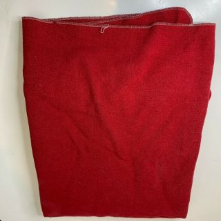 Vintage Wool Blanket Outdoor Hiking Camping Color Red 80x69 Twin Size