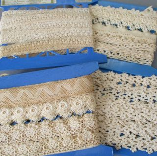 "4 Bolts Vintage French Lace Guipure Embroidered Trims 7/8 "" - 1 1/2 "" Wide Dolls"