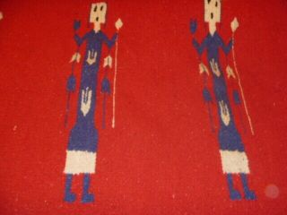 "Vintage Red Wool Rug Navajo Style Pictorial Of Yei 60 "" X 30 """