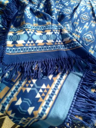 Vintage Camp Blanket Throw Indian Western Southwest Blue Fringe (a)