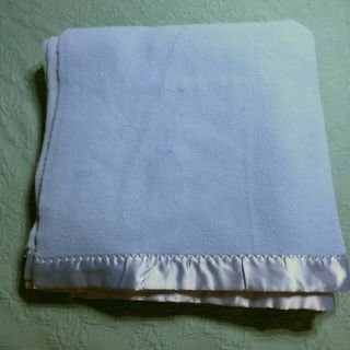 "Vtg Blue Satin Trim Acrylic Blanket Full - Queen 88×90 "" Soft Usa Made Betty G"