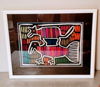 Vintage Hand Stitched Mola Tribal Animal Motif Textile Framed Art