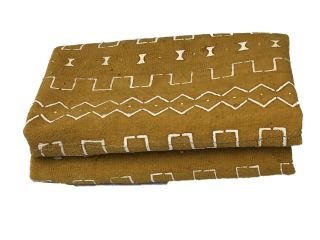 "African Bogolan Mud Cloth Mustard & White Textile 64 "" By 40 """