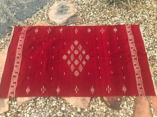 "Early Mexican Fine Weave Red Wool Blanket/serape 40 "" X 72 """