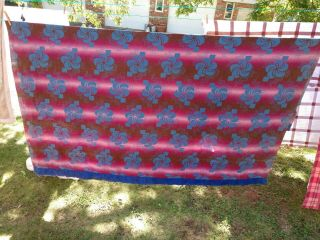 Vintage Cotton Blanket Full/ Twin Blue And Red Floral From The 40