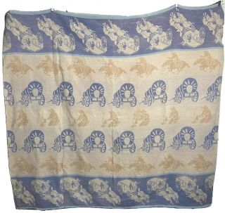 Vintage 1950's Cotton Camp Blanket Rodeo Cowboy Western Stagecoach Ranch Beacon