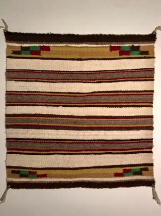 Navajo Saddle Blanket / Rug,  Banded Style W/ Natural Wool,  Nr