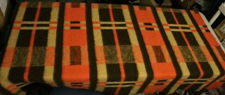 Vintage Orange & Brown Wool Blanket