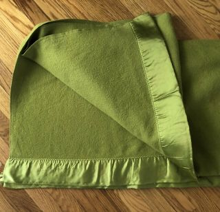 Vintage Olive Green Wool Blanket Satin Trim 64 X 80 Gently