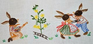 Easter Bunny Plays Guitar Music While Couple Dances Vintage German Table Runner