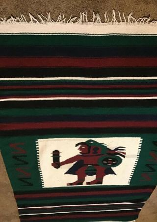 Aztec Inca Warrior Mayan Handwoven Blanket Rug 47 X 80 Mexico Wall Hanging Wool