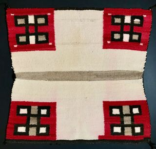 Unique Historic Navajo Saddle Blanket/ Rug,  Spider Woman Crosses & Cross,  C1900,  Nr