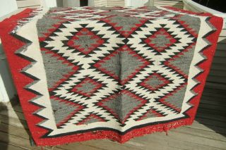"1964 Navajo Hand Woven Moth Wool Rug 66 "" By 33 1/2 "" Red Black Gray Cream"