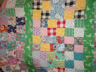 Vtg Hand Pieced Tied 16 Patch Quilt Cottons Feed Sacks Mickey Mouse / Friends