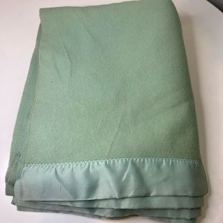 Vintage Wool Blanket Bedding Nylon Satin Trim Color Green