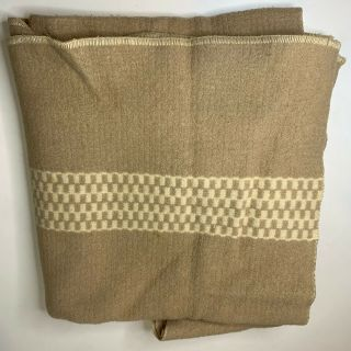 Vintage Wool Throw Blanket Cream Tan Checkered Outdoor Camping Hiking