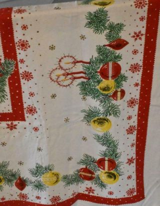Vintage Mid Century Cotton Blend Tablecloth Christmas White Red Green Ornaments
